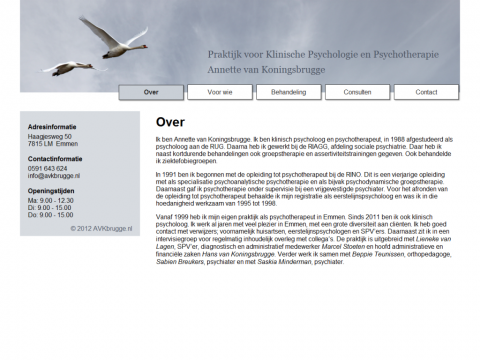 Screenshot of the final website of Annette van Koningsbrugge.