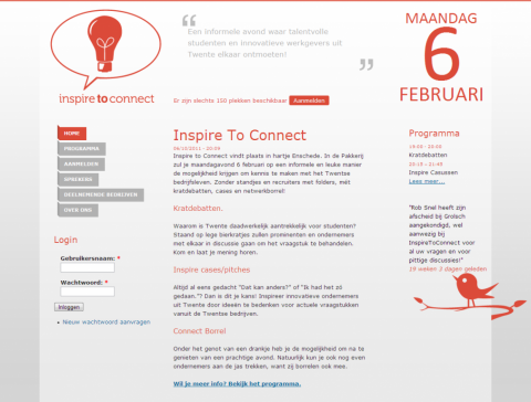 Screenshot of the final website for Inspire to Connect.