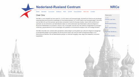Screenshot of the final website of the Netherland-Rusland center.