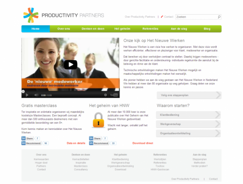 Screenshot of the final website for Productivity Partners.
