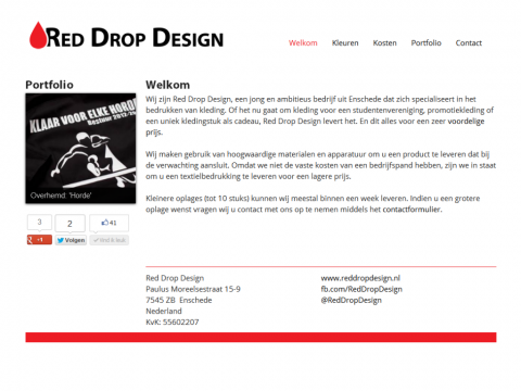 A screenshot of the Red Drop Design website